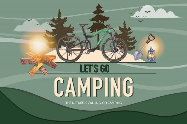 Het kamperen achtergrond met fiets, schop, brandhout en lantaarnillustratie. Gratis Vector