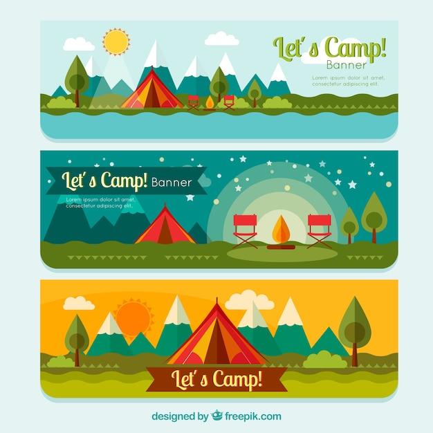 Het kamperen tent banners inpakken Gratis Vector