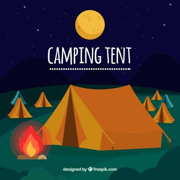 het kamperen tent met een kampvuur achtergrond vector