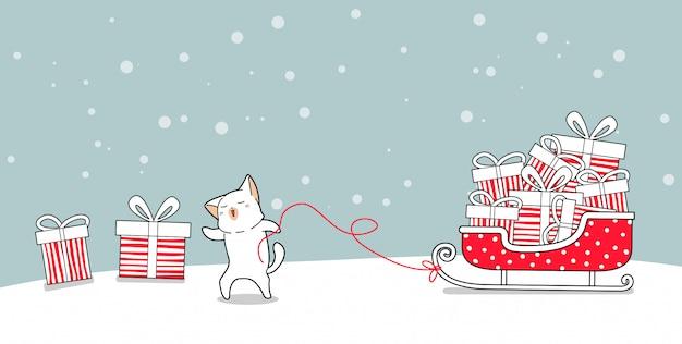 Het karakter van de bannerkat met giften op arvoertuig in kerstmisdag Premium Vector