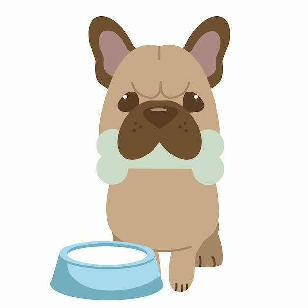 Het karakter van schattige franse bulldog fiets een bot en hebben een kom melk in de buurt van de hond. Premium Vector