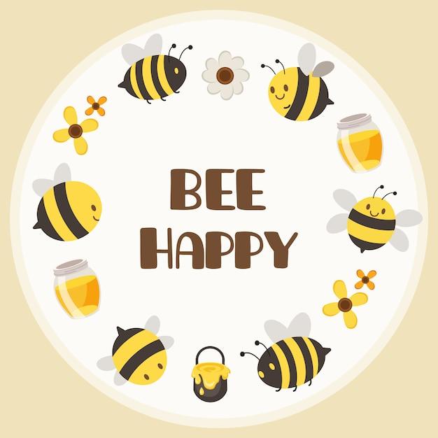 Het karakter van schattige gele bijen en zwarte bijen in een cirkelframe met een tekst wees blij Premium Vector