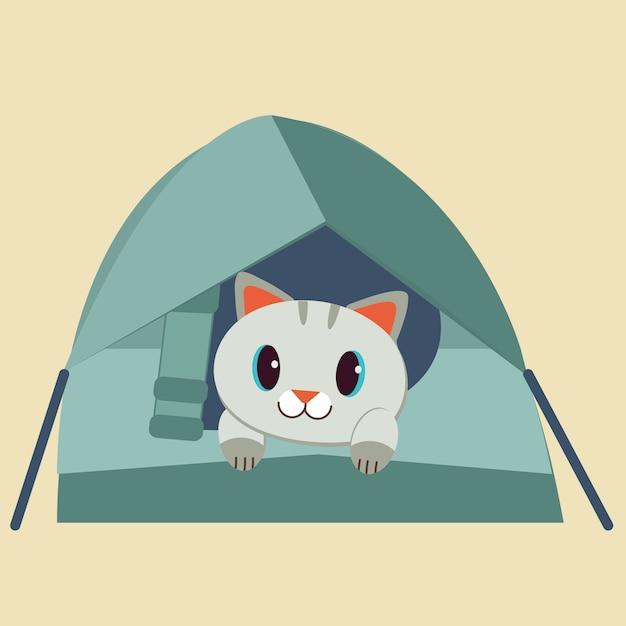 Het karakter van schattige kat in de tent. Premium Vector