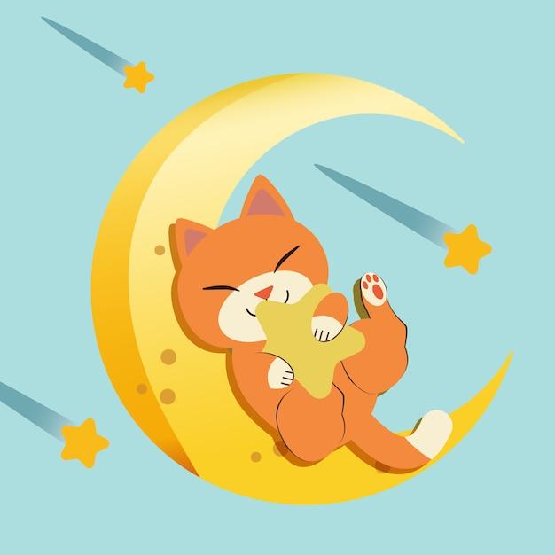 Het karakter van schattige kat slaapt op de maan. de kat die en de gele ster zit koestert. Premium Vector