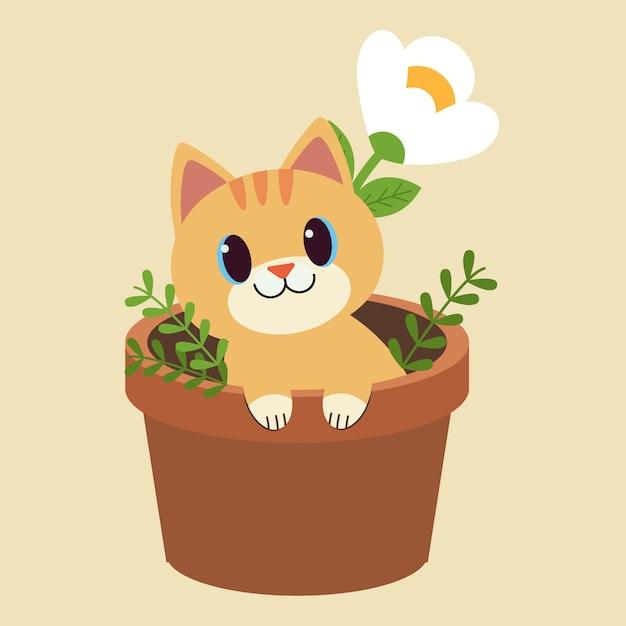 Het karakter van schattige kattenzitting in de plantpot. Premium Vector
