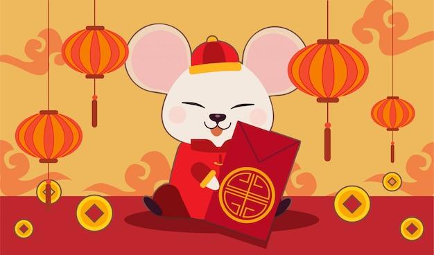 Het karakter van schattige muis met chinees goud en chinese wolk. de schattige muis draagt chinees pak. jaar van de rat. Premium Vector