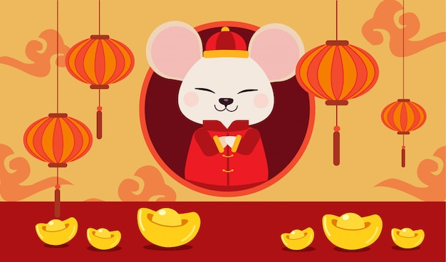 Het karakter van schattige muis met chinees goud en chinese wolk. Premium Vector
