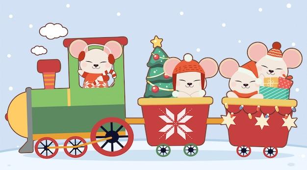 Het karakter van schattige muis met kersttrein Premium Vector