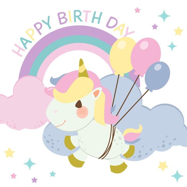 Het karakter van schattige regenboog eenhoorn vliegen in de lucht met ballon. tekst van gelukkige verjaardag. het karakter van schattige regenboog eenhoorn in vector-stijl. Premium Vector