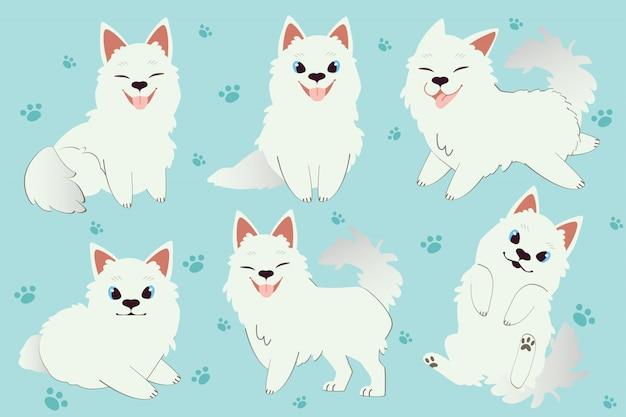 Het karakter van schattige samojeed hond zitten en staan. Premium Vector
