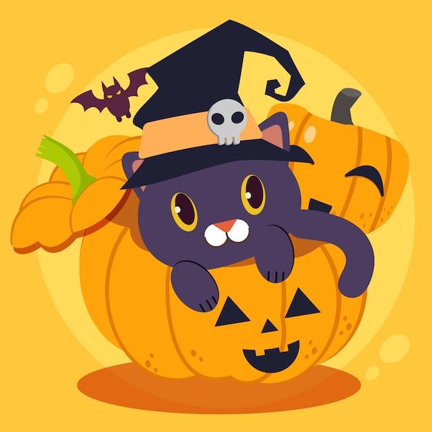 Het karakter van schattige zwarte kat draagt een grote wicth-hoed die grote pompoen zit Premium Vector