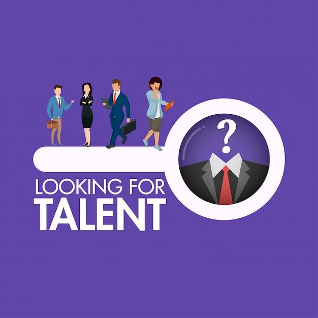 Het karakter van zakenmensen zoeken op zoek naar een talent persoon Premium Vector