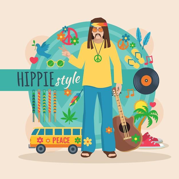 Het karakterpak van de hippie voor de lange haarmens met bijkomende en in elementen vectorillustratie Premium Vector