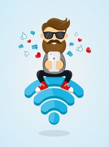Het karakterzitting van de jonge mensenkerel op wifi-embleem en het gebruiken van smartphone voor internet. gratis internet, hotspot, netwerk. vlakke afbeelding. een bericht verzenden via chat van smartphone Premium Vector