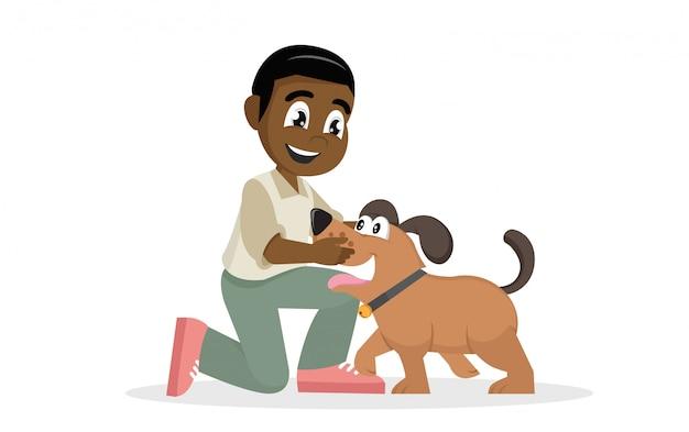 Het kind omhelst liefkozend zijn huisdier. Premium Vector