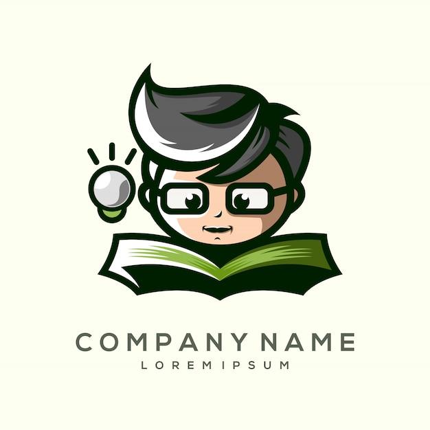 Het kind van een premium logo-ontwerp Premium Vector