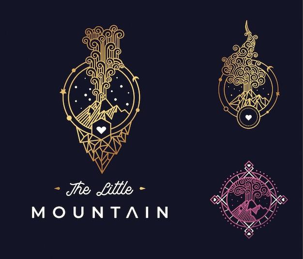 Het kleine berg logo-ontwerp Premium Vector