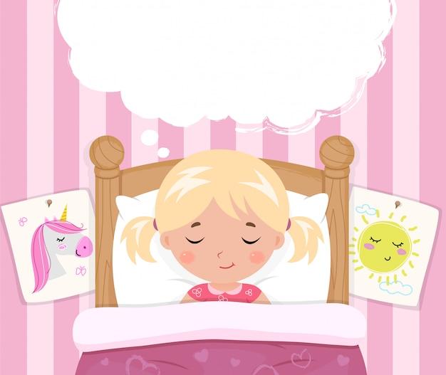 Het kleine meisje slaapt in bed Premium Vector