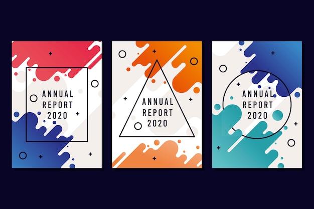 Het kleurrijke en moderne concept van het jaarverslagmalplaatje Gratis Vector