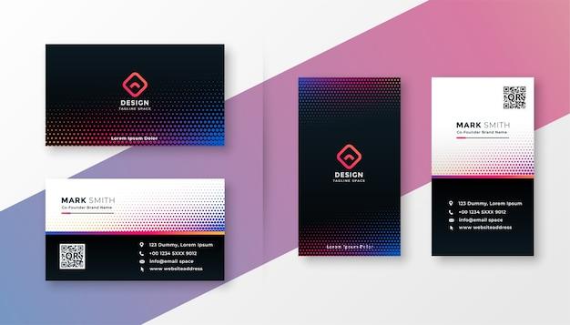 Het kleurrijke halftone ontwerp van het stijl moderne visitekaartje Gratis Vector