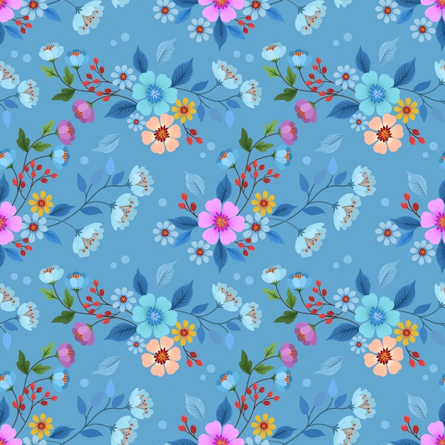 Het kleurrijke hand getrokken vectorontwerp van het bloemen naadloze patroon voor stoffen textielbehang. Premium Vector