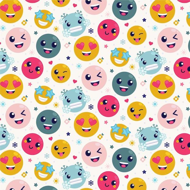 Het kleurrijke patroon van glimlachemoticons Premium Vector
