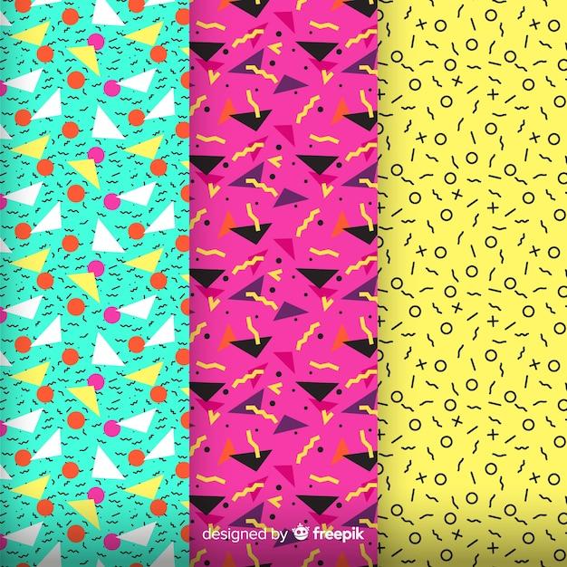 Het kleurrijke patroon van memphis assembleert Gratis Vector