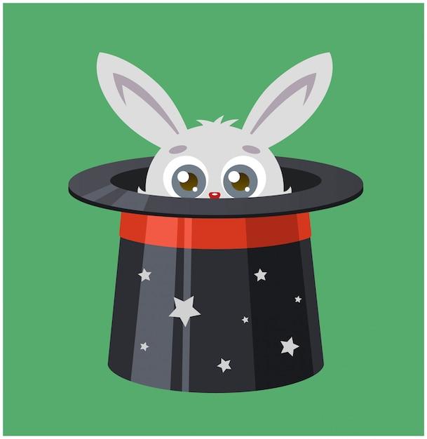 Het konijn verborg zich in hoge hoed. goochelaar toont een truc. vector illustratie van een haas en magie. Premium Vector