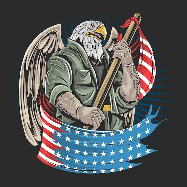 Het kunstwerk van de het legermilitair van eagle amerika de vs voor veteranendag, onafhankelijkheidsdag of herdenkingsdag Premium Vector