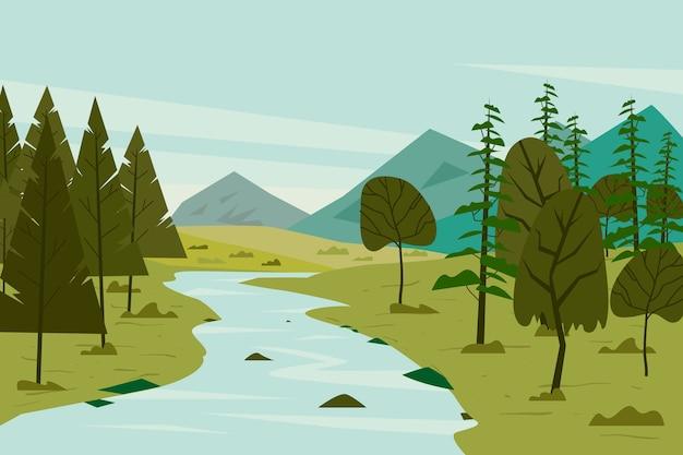 Het landschap van de gradiëntlente met rivier en bomen Gratis Vector