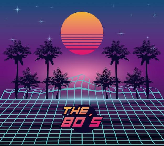 Het landschap van de jaren 80 Premium Vector