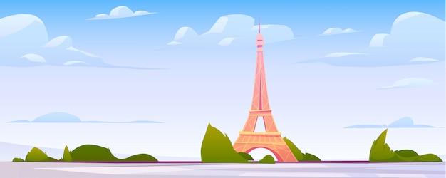 Het landschap van parijs, de achtergrond van de de stadshorizon van frankrijk Gratis Vector
