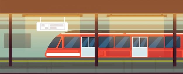 Het lege binnenland van de metropost met metro trein Premium Vector