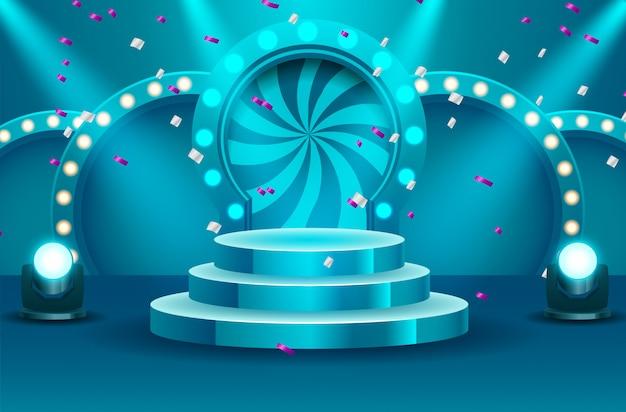 Het lege podium van de sportenwinnaar dat door zoeklichten vectorillustratie wordt verlicht. podium leeg met verlichte schijnwerper. vector illustratie Premium Vector