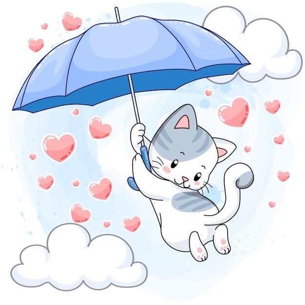 Het leuke bevlekte katje hangen op een blauwe paraplu en regenende harten Premium Vector