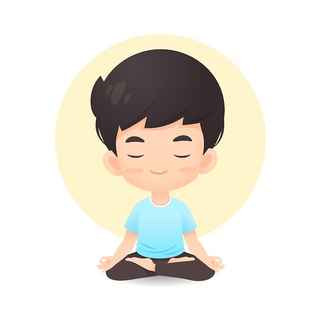 Het leuke jonge jongensbeeldverhaal in meditatie stelt Premium Vector