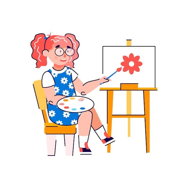 Het leuke karakter die van het meisjebeeldverhaal vlakke vector geïsoleerde illustratie trekken. Premium Vector