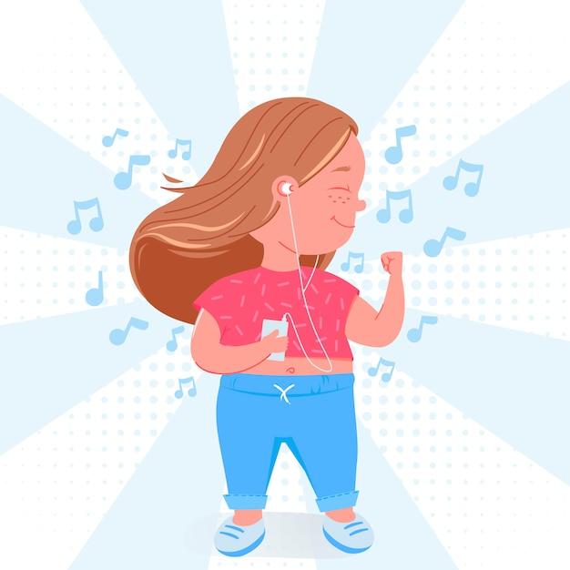 Het leuke karakter van het kindmeisje luistert aan muziek. veel plezier met mp3-speler. Gratis Vector