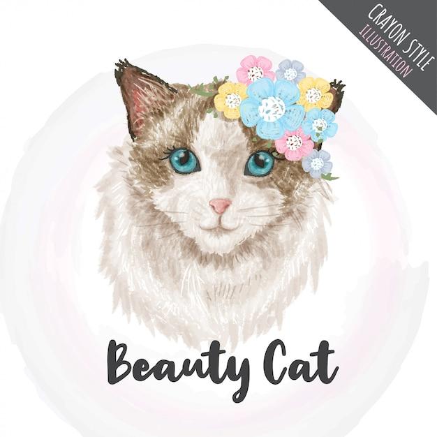 Het leuke katje bloeit de illustratie van de kleurpotloodstijl Premium Vector