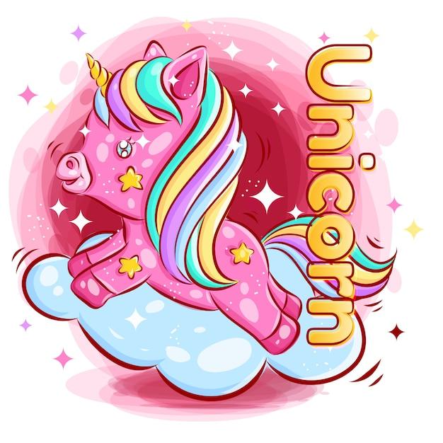 Het leuke kleurrijke eenhoorn spelen op de wolk met de gelukkige illustratie van het glimlachbeeldverhaal Premium Vector
