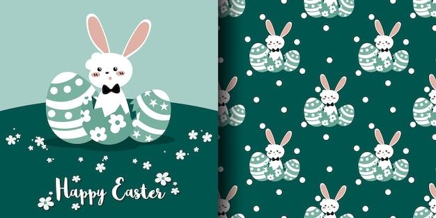 Het leuke naadloze patroon van pasen van wit konijn met paaseieren en witte stippen. Premium Vector