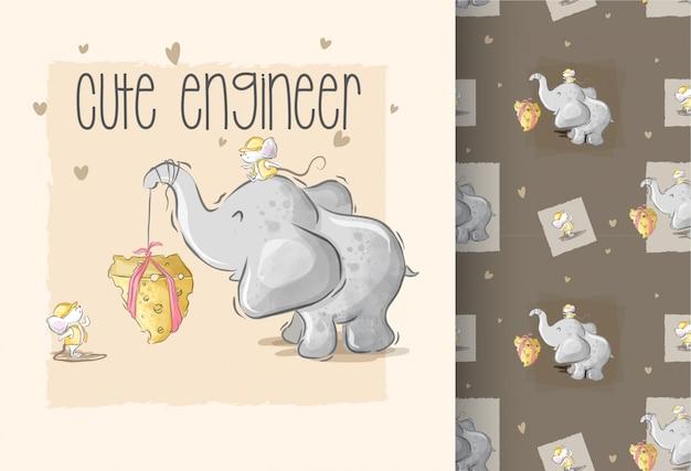 Het leuke olifant palying met het naadloze patroon van de babymuis Premium Vector