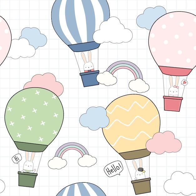 Het leuke vliegende konijntje van het ballonkonijn in hemel naadloos patroon Premium Vector