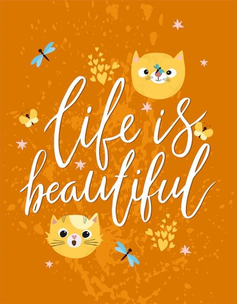 Het leven is een mooie wenskaart Gratis Vector