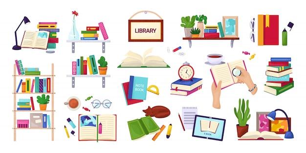 Het lezen van boeken, onderwijs en bibliotheekconcept, reeks op witte illustraties. encyclopedie, leerboekpictogrammen, stapel boeken, handen met notitieboekje. studie en kennis. Premium Vector