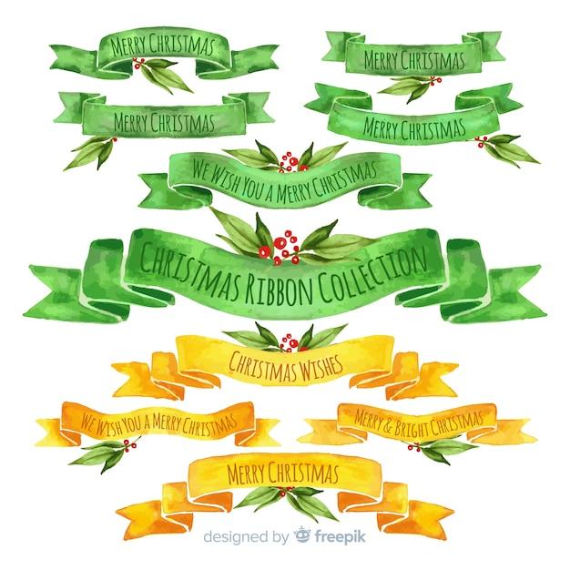 Het lintinzameling van waterverf groene en gele kerstmis Gratis Vector