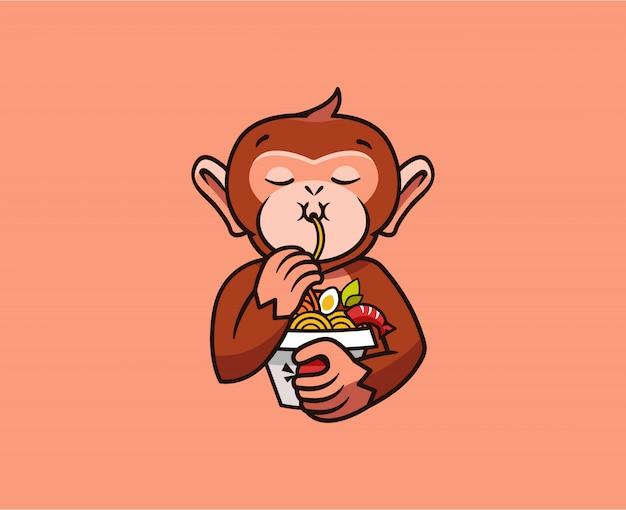 Het logo grappige aap eet noedels. voedsel logo, schattige dieren makaak Premium Vector