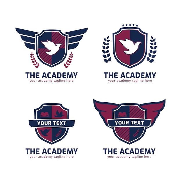 Het logo van de academie in de vorm van een schild met vleugels van een adelaar Premium Vector
