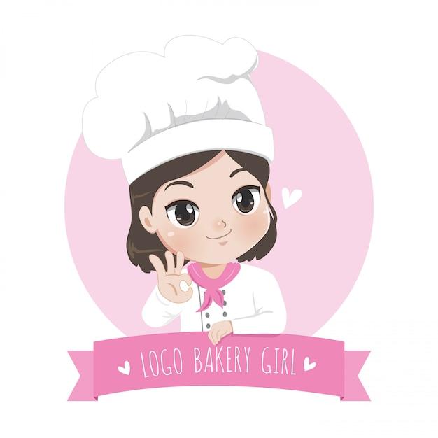 Het logo van het kleine bakkerijmeisje is een vrolijke, smakelijke en lieve glimlach, Premium Vector