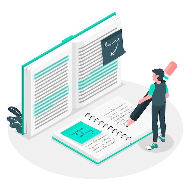 Het maken van notities concept illustratie Gratis Vector